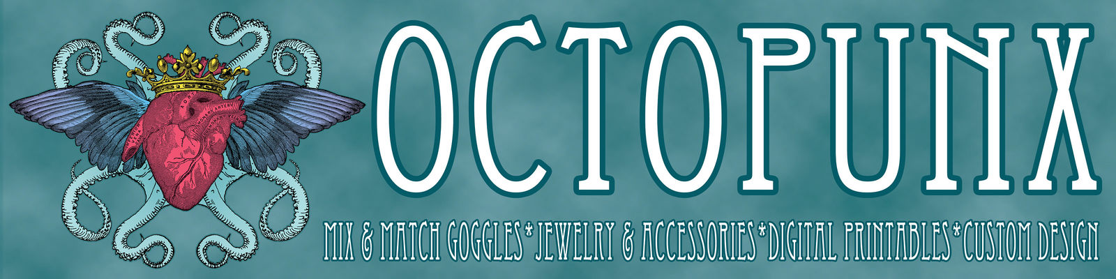 Octapunx: mix & match goggles, jewelry, accessories, digital printables, custom design.
